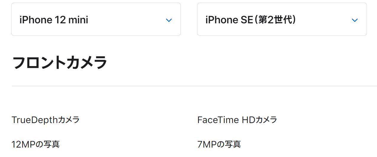 iPhone12miniとSE第二世代の前面カメラ比較